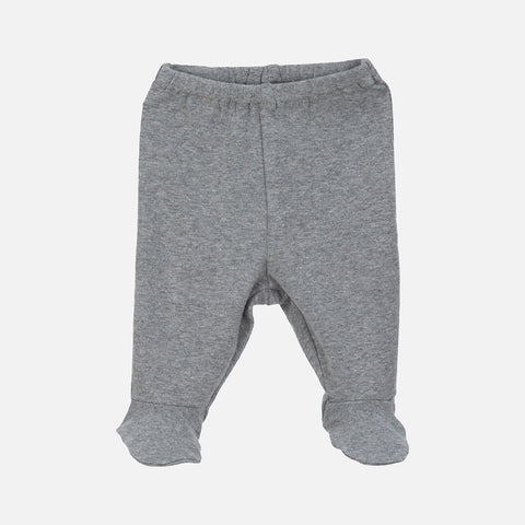 Organic Cotton Baby Pants with Feet - Grey - 0-3m