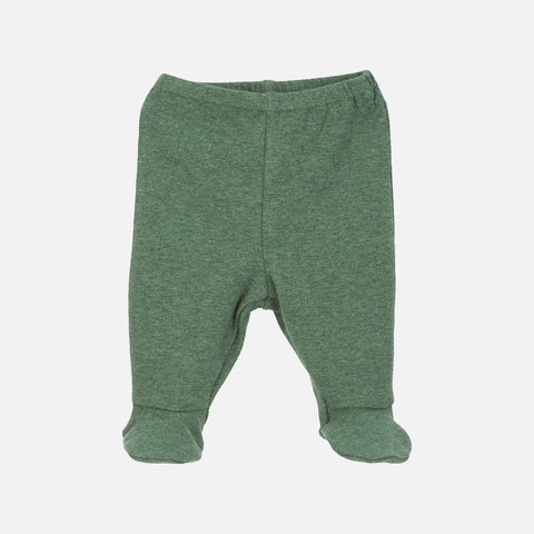 Organic Cotton Baby Pants with Feet - Green - 0-3m