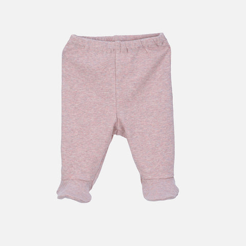 Organic Cotton Baby Pants with Feet - Powder - 0-3m