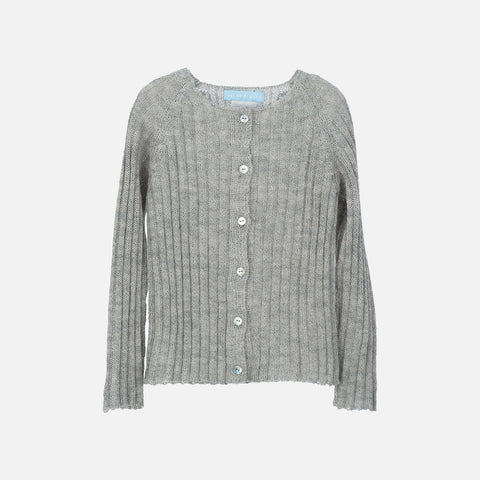Alpaca Rib Cardigan - Light Grey - 2-11y