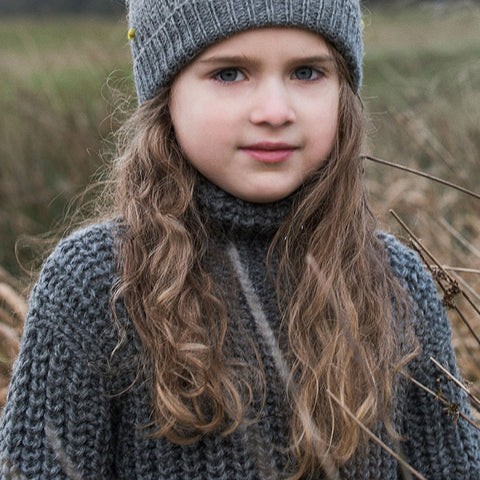 Alpaca Patent Sweater - Grey - 3-11y