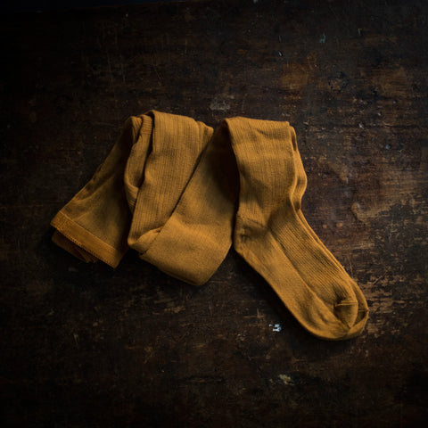 Exclusive Adult Soft Wool Rib Tights - Ochre