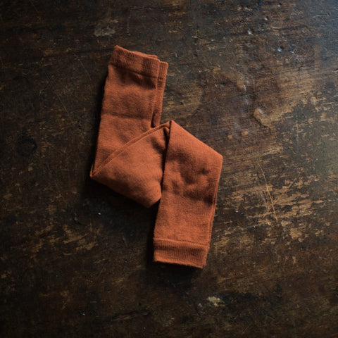 Exclusive Soft Wool Leggings/Footless Tights - Rust