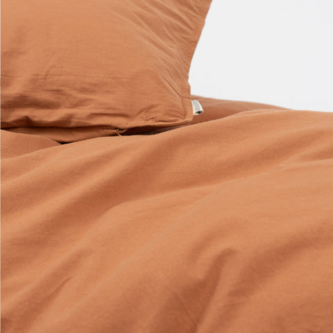 Organic Cotton Duvet & Cushion Cover - Caramel - Single