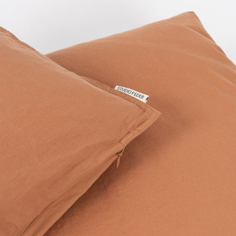Organic Cotton Duvet & Pillow Cover - Caramel - Single
