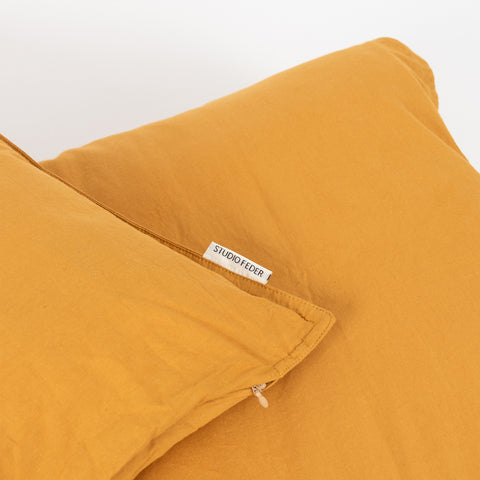 Organic Cotton Duvet & Cushion Cover - Ochre - Single