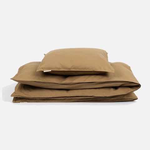 Organic Cotton Duvet & Cushion Cover - Khaki - Single
