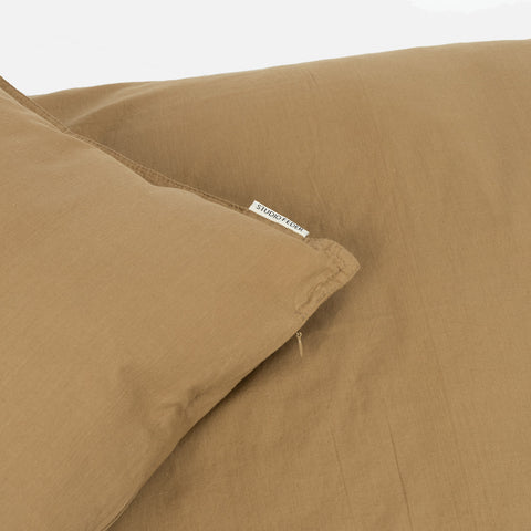 Organic Cotton Duvet & Pillow Cover - Khaki - Single