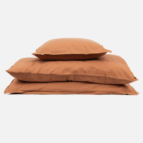 Organic Cotton Duvet & Pillow Cover - Caramel - Junior Size