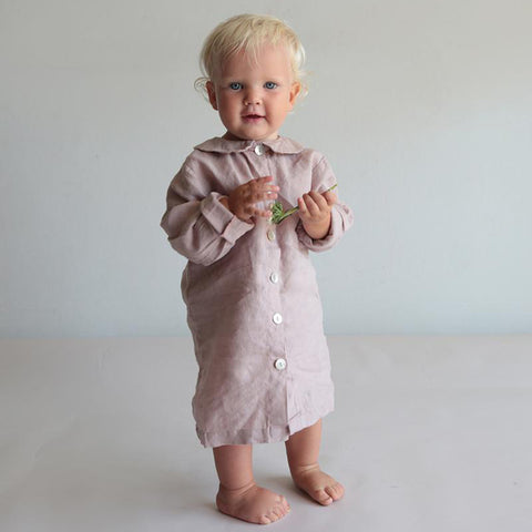100% Linen Night Shirt - Lilac