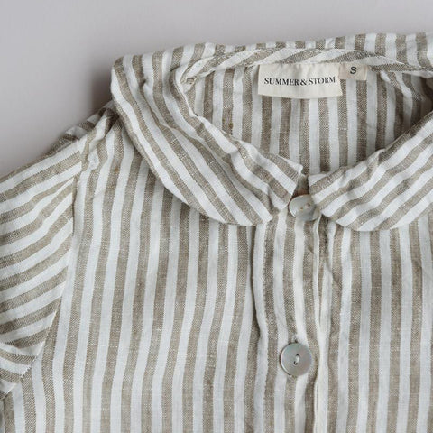 100% Linen Night Shirt - Olive Stripe
