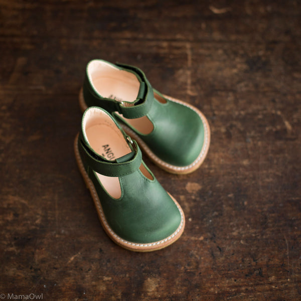 T-Bar Shoes - Oiled Green - 20(UK 4) - 25(UK 8.5)