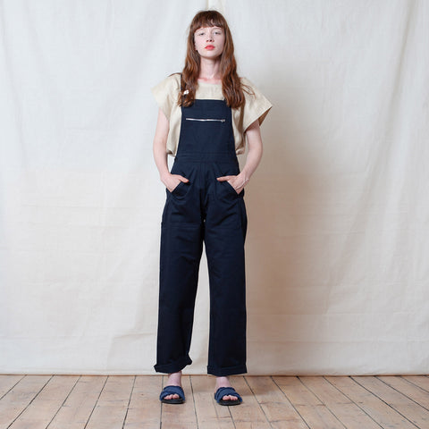 Adult Cotton Dungarees - Black - S-L