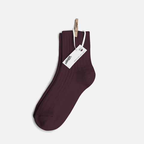 Adult Cotton Short Socks - Aubergine