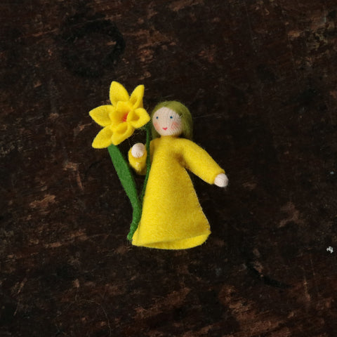 Handmade Small Wool Fairy Holding Flower - Daffodil
