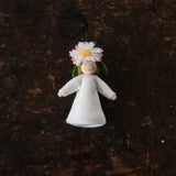 Handmade Wool Fairy With Flower Headdress - Common Daisy - White
