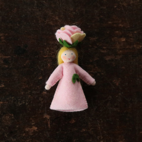 Handmade Small Wool Flower Fairy - Blush Rose