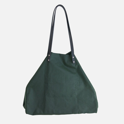 Waxed Cotton Giga Tote - Forest