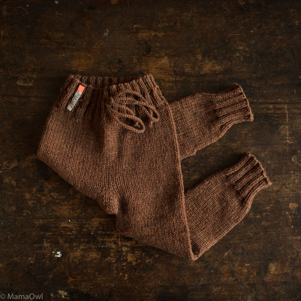 Hand-Knit 100% Wool Kids Pants - Cinnamon