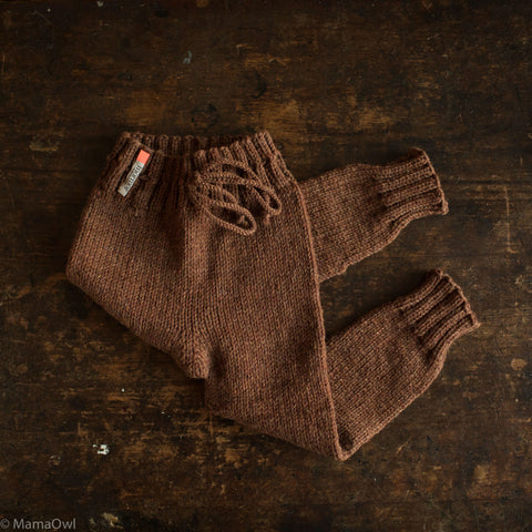 Hand-Knit 100% Wool Kids Pants - Cinnamon - 1-6y