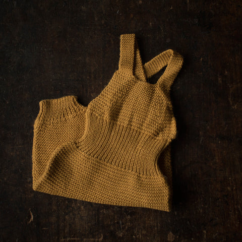 Exclusive Hand knitted Alpaca Baby Romper - Mustard - 3m-2y