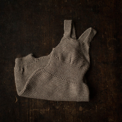 Exclusive Hand knitted Alpaca Baby Romper - Oatmeal - 3m-2y