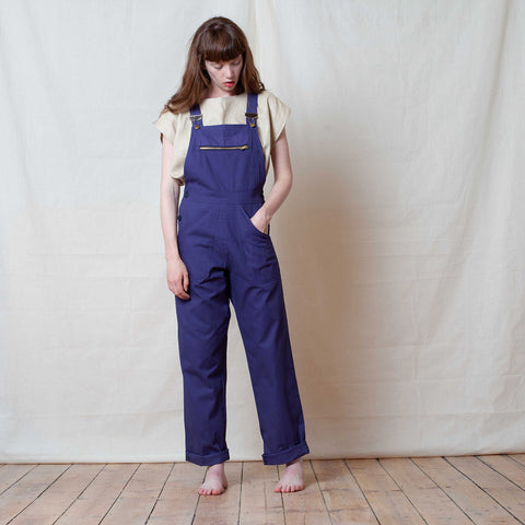 Adult Cotton Dungarees - Brushed Navy - S-L