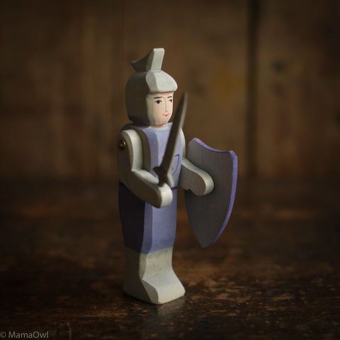 Handcrafted Standing Knight - Blue