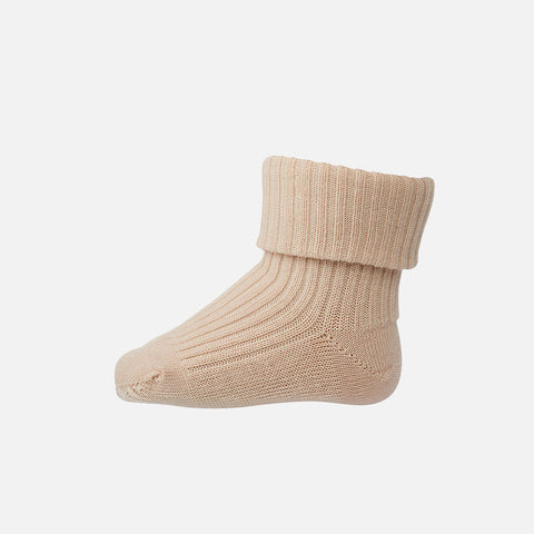 Wool Rib Ankle Socks - Light Rose