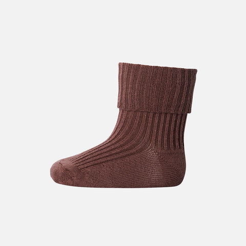 Wool Rib Ankle Socks - Brown Sienna