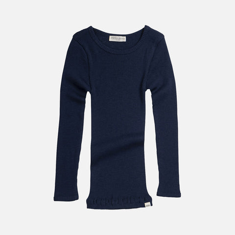 Merino Wool Atlantic LS Top - Navy