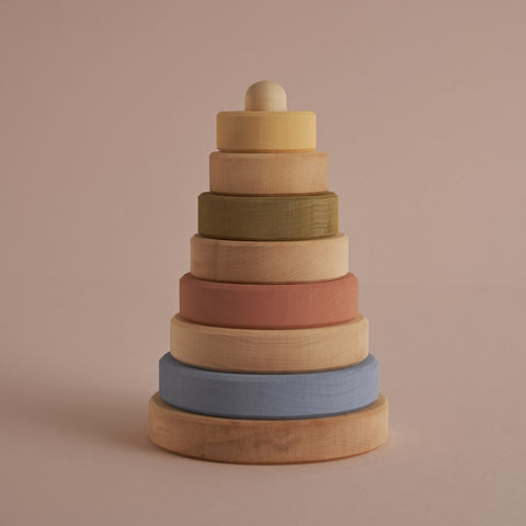 Wooden Stacking Tower - Pastel/Natural