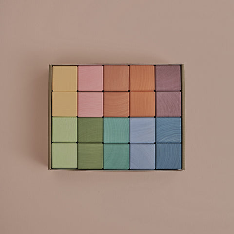 Wooden 20 Piece Cube Set - Pastel
