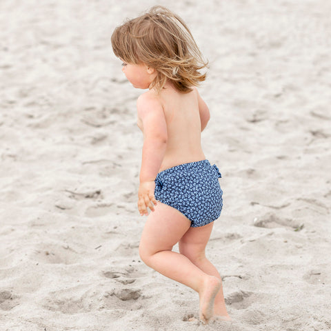 Lea Swim Nappy - Dusty Blue Flowers