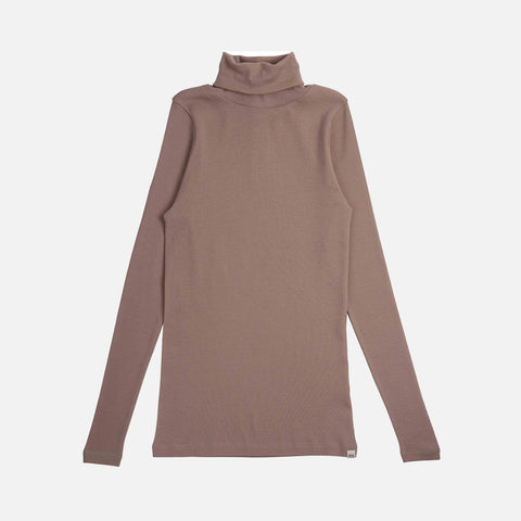 Women's Merino Wool Vakra Roll Neck Top - Pearl