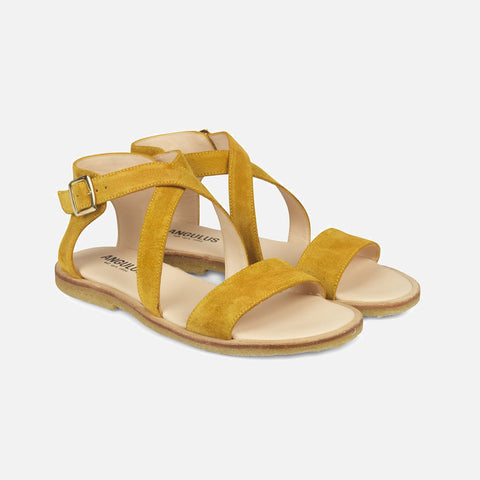 Women's Cross Strap Sandal - Yellow Suede