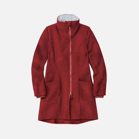 Women's Boiled Wool Coat - Bordeaux