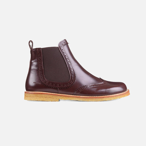 Women's Brogue Chelsea Boot - Dark Brown