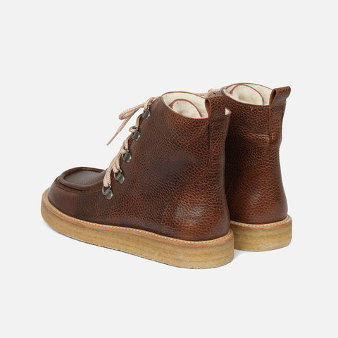 Women's Wool Lined Boot with laces - Cognac