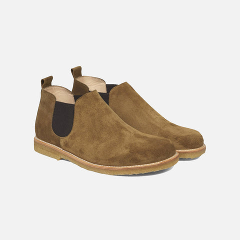 Women's Low Chelsea Boot - Moss Brown Suede