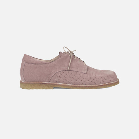 Women's Perforated Shoe - Powder Suede