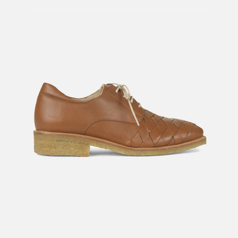 Women's Woven Toe Shoe With Laces - Cognac