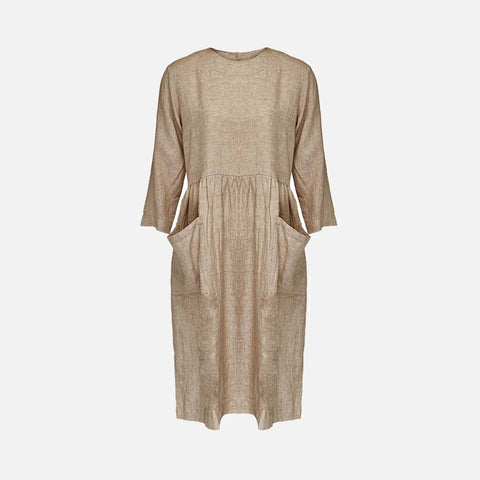 Women's Linen Pocket Dress - Beige
