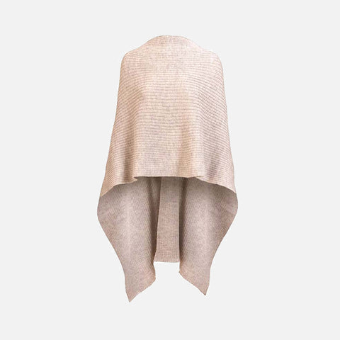 Women's Alpaca Rib Cape - Bisque