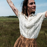 Women's Organic Cotton Sencha SS Blouse - Almond Milk