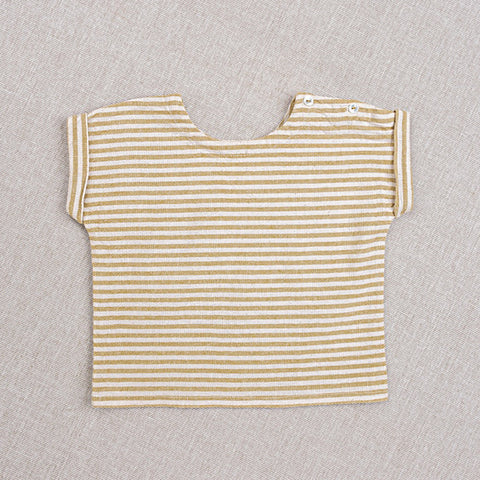 Cotton Hand Woven Max Top - Yellow Stripe