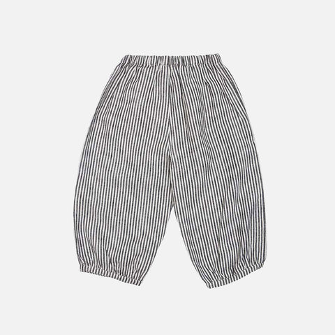 Linen Bubble Pants - Grey Striped