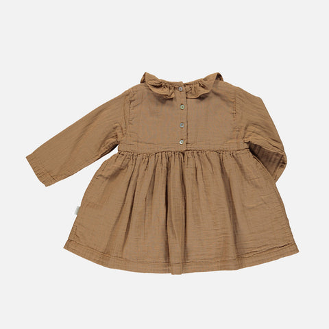 Organic Cotton Campanule Dress - Brown Sugar