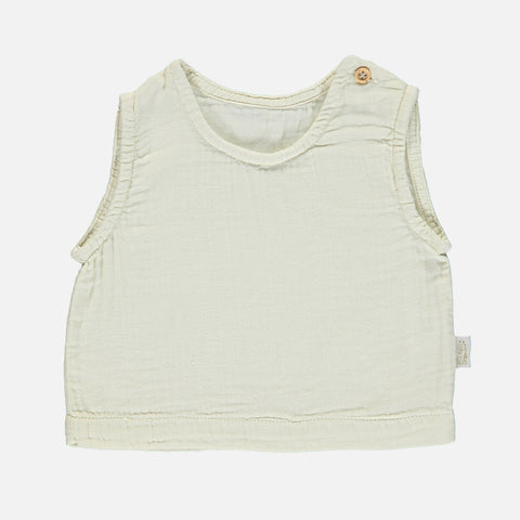Organic Cotton Ceylan Sleeveless Top - Almond Milk