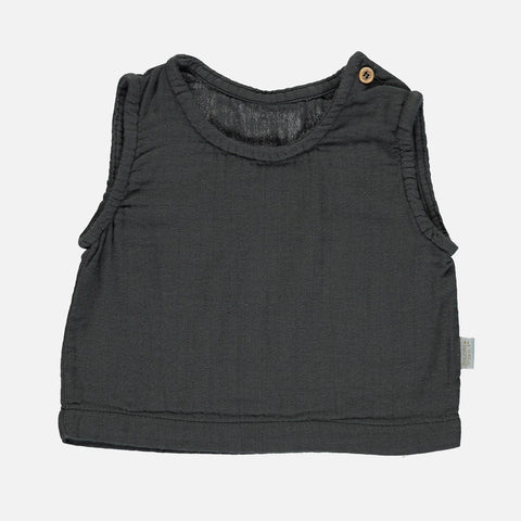 Organic Cotton Ceylan Sleeveless Top - Pirate Black